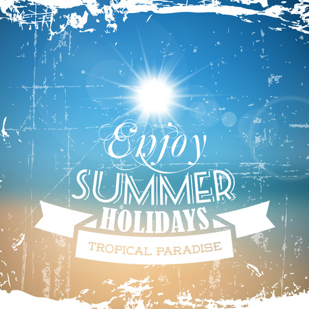 Vector abstract grunge summer poster with beach background Vector