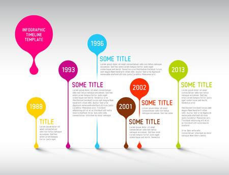 Colorful Vector Infografía plantilla de informe línea de tiempo con burbujas
