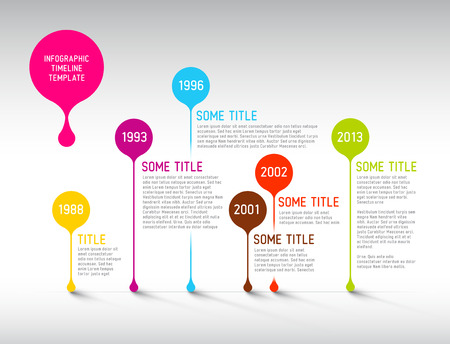Colorful  Vector Infographic timeline report template with bubbles Imagens - 27707792