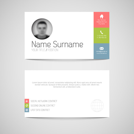telephone box: Modern simple light business card template with flat user interface