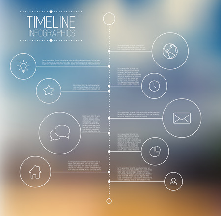 Vector Infographic timeline report template with icons and blurred background