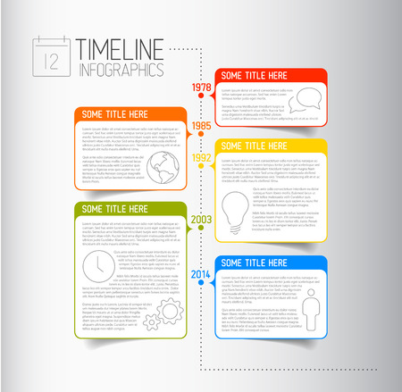 descriptive: Vector Infographic timeline report template with icons and descriptive bubbles