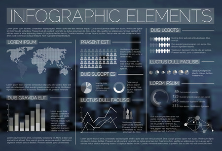 opaque: Night transparent Vector set of Infographic elements for your documents and reports