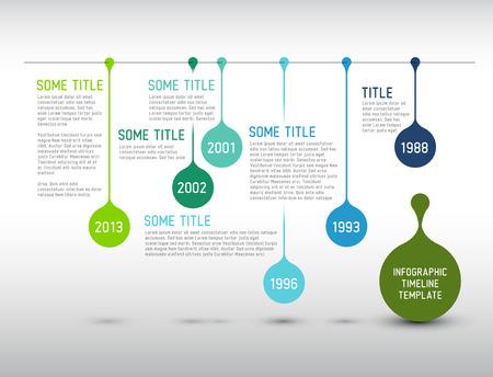 방울과 다채로운 벡터 인포 그래픽 타임 라인 보고서 템플릿