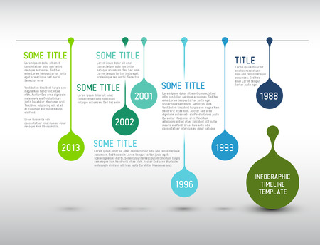 schedule reports: Colorful  Vector Infographic timeline report template with drops