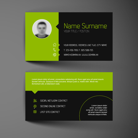 Modern dark simple light business card template with flat user interface Vector