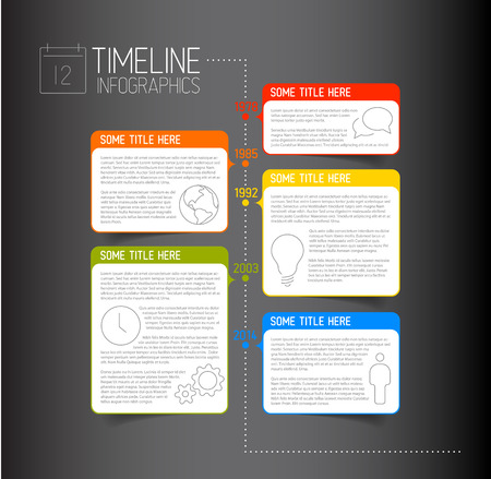 descriptive: dark Infographic timeline report template with icons and descriptive bubbles