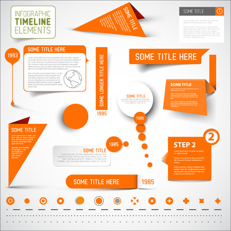 Vector Orange infographic timeline elements  template