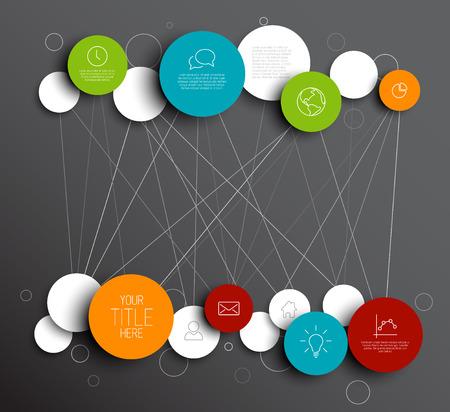 Círculos abstractos oscuro ilustración plantilla de red infografía Ilustración de vector