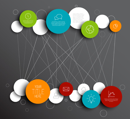 mind: Dark abstract circles illustration infographic network template