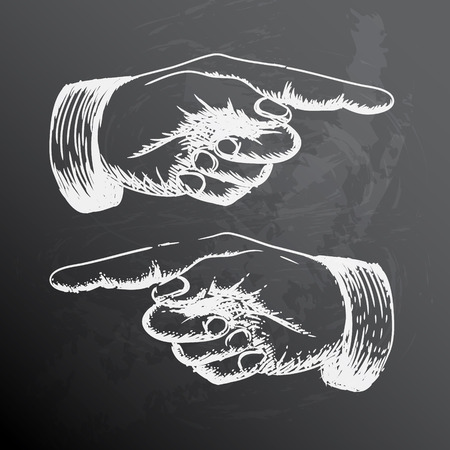 finger point: Black and white retro Vintage pointing hand drawing Illustration