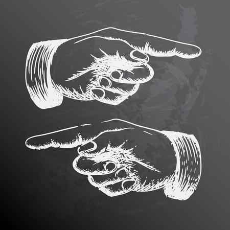 dedo indice: Dibujo retro blanco y negro vintage mano que señala