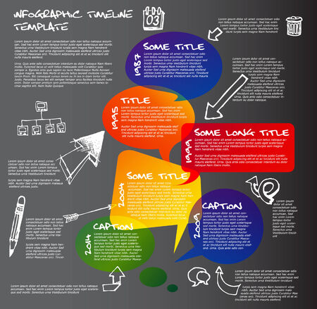 Dark Infographic timeline report template made from colorful speech bubbles and doodles Vector