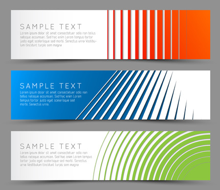 Simple colorful horizontal banners - with line motive Illustration