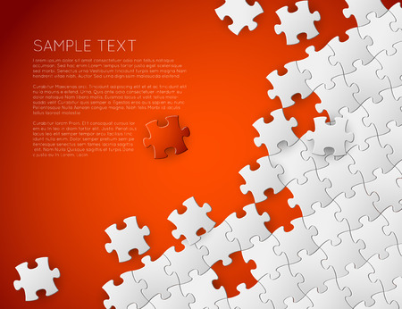 Vector Abstract red background made from white puzzle pieces and place for your content Illustration