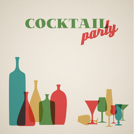 cocktail drinks: Retro Cocktail party invitation card with glasses and bottles