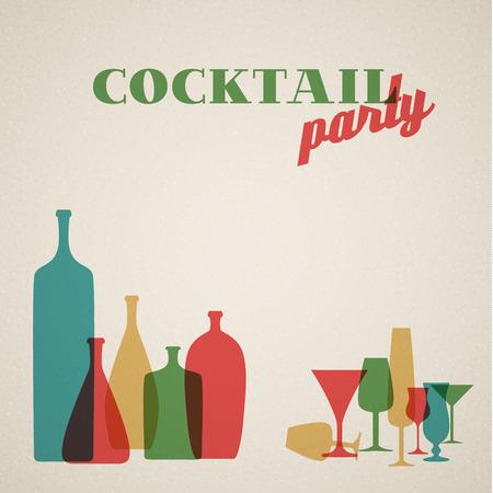 botella de licor: Tarjeta de invitación de la fiesta de cóctel retro con vasos y botellas Vectores