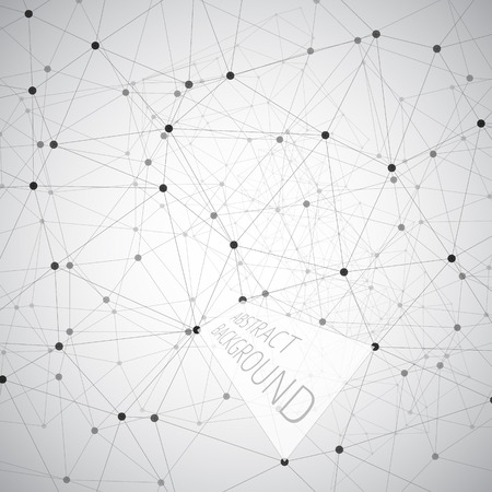 Abstract black and white background made from points and lines Vector
