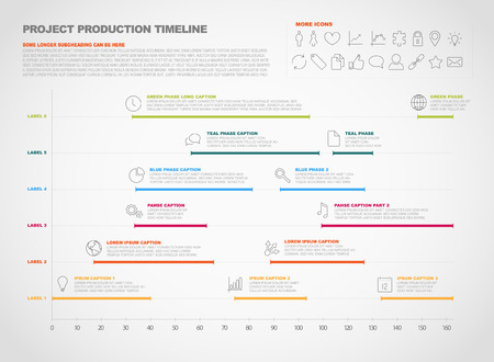 project timeline graph - gantt progress chart of project Vector