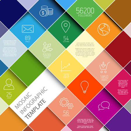 information technology: abstract squares background illustration  infographic template with place for your content