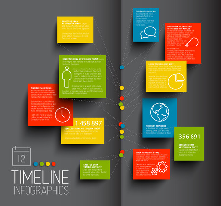 Infographic dark timeline report template with icons Vector