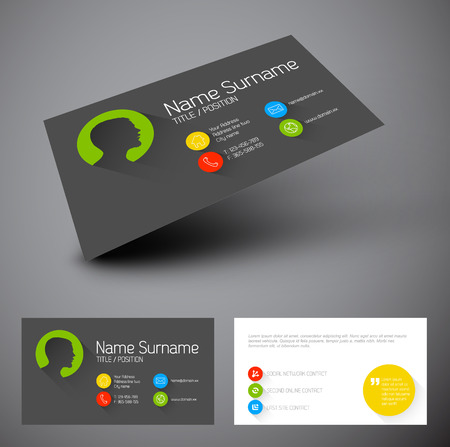 Modern simple business card template with flat user interface and long shadows Vector