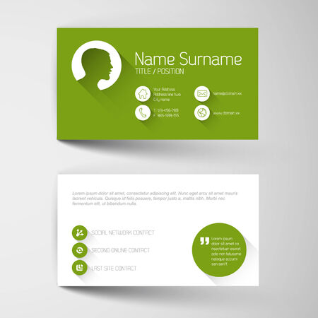 Modern simple green business card template with flat user interface Vector