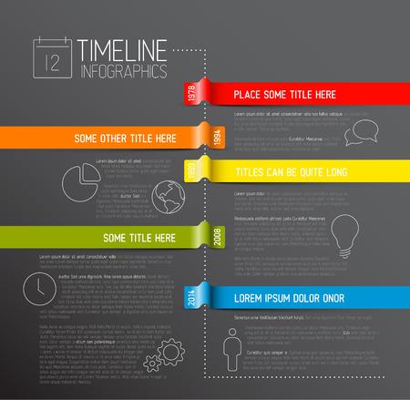 Vector dunkelInfoGrafik Timeline Berichtsvorlage mit Symbolen