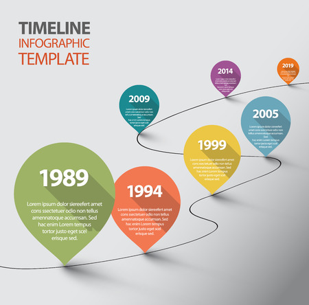 Vector retro Infographic Timeline Template with pointers Illustration