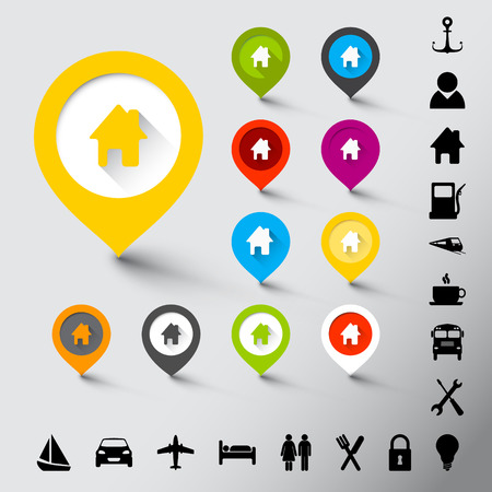Collection of various fresh color pointers with icons Vector