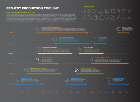 Vector donkere project tijdlijn grafiek - Gantt voortgang grafiek van project Stock Illustratie