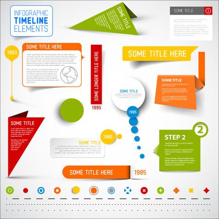 Vector infographic timeline elements  template - various colors Ilustração