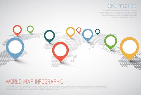 Mapa del mundo con marcas de puntero - concepto de comunicación Ilustración de vector