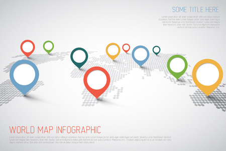 World map with pointer marks -  communication concept Ilustrace