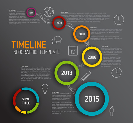 Vector dark Infographic timeline report template with icons Illustration