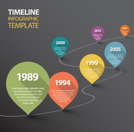 meses del a�o: Vector oscuro retro Infograf�a plantilla de la l�nea de tiempo con los punteros Vectores