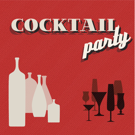 Vector Retro Coctail party invitation card with glasses and bottles Vector