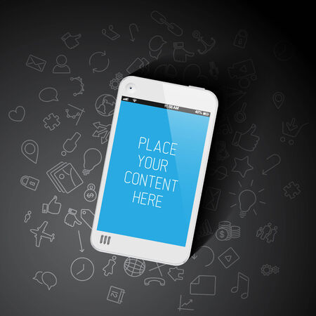 screenshot: Realistic smartphone template with background icons and place for your content