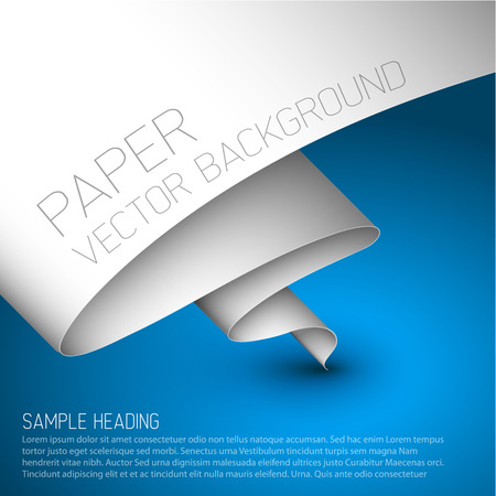 wrinkled paper: Vector blue simple background with folded white paper