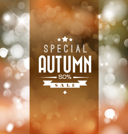 Autumn sale vector retro poster with abstract blurred fall background Vector