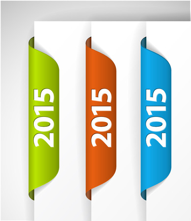 Vector 2015 Labels  Stickers on the edge of the (web) page - green, blue, red Vector