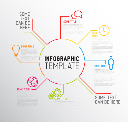 report card: Vector Infographic report template made from lines and icons Illustration
