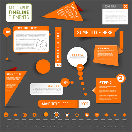 owning: Vector Orange infographic timeline elements  template on dark gray background