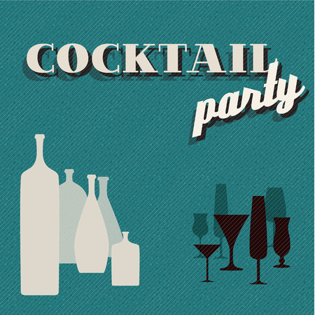 teal Retro Coctail party invitation card with glasses and bottles Vector