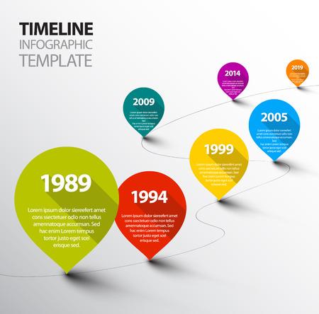 ポインターとレトロなインフォ グラフィック タイムライン テンプレート