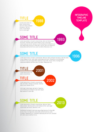 Colorful  Infographic timeline report template with bubbles Vector