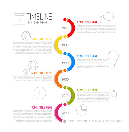 schedule reports: Vector Infographic timeline report template with icons Illustration