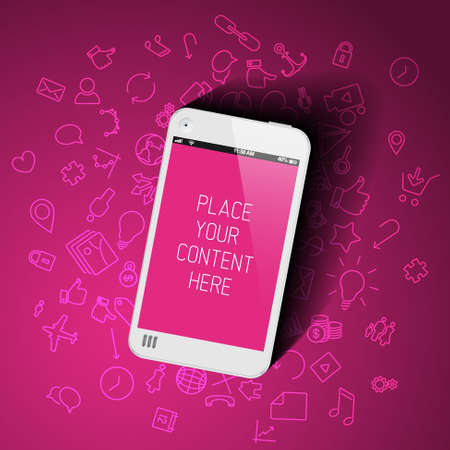 screenshot: Realistic pink smartphone template with background icons and place for your content