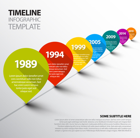 Vector retro Infographic Timeline Template with pointers Çizim