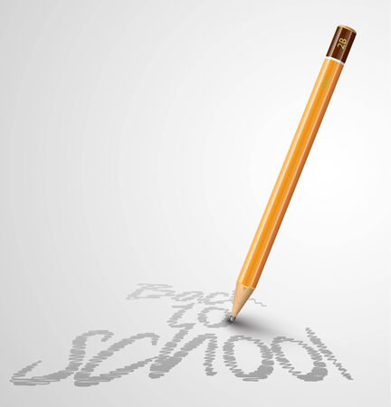 office supply: Back to school poster with a pencil and space Illustration